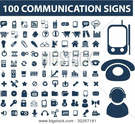 100 communication signs. vector