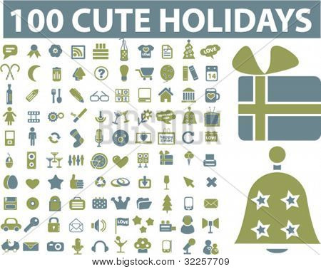 100 holidays & party signs. vector