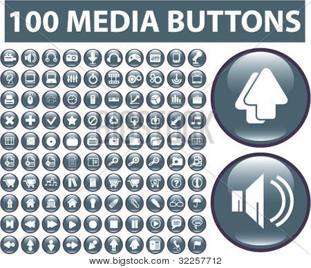 100 professional media signs. vector