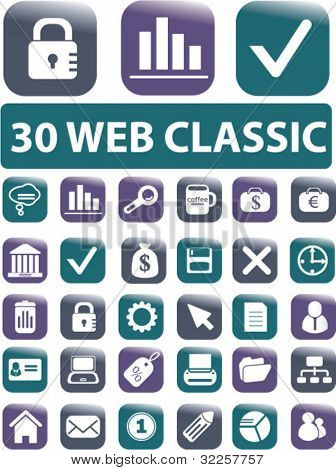 30 web classic business glossy buttons. vector