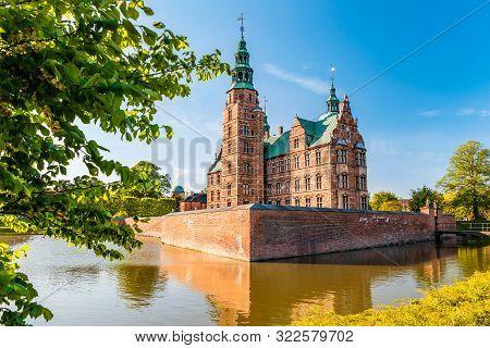 poster of The Rosenborg Castle In Copenhagen, Denmark. Dutch Renaissance Style.