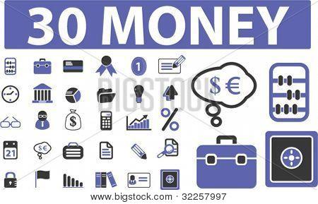 30 money signs. vector