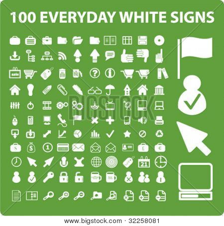 100 cute everyday signs. vector