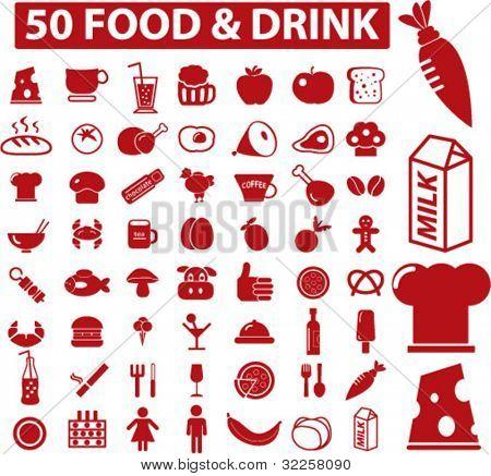 50 food & drink signs. vector