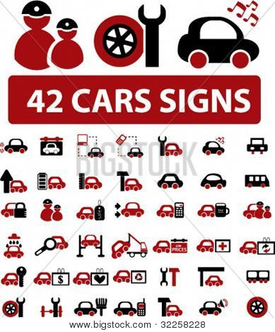 42 professional cars signs. vector