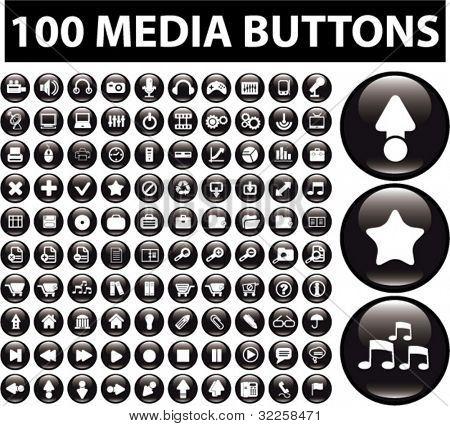 botões de 100 mídia. vector
