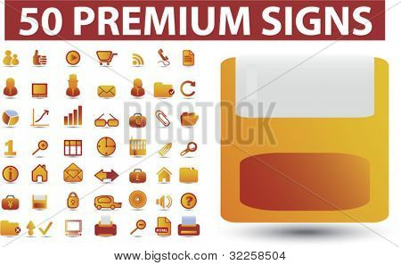 50 premium office signs. vector