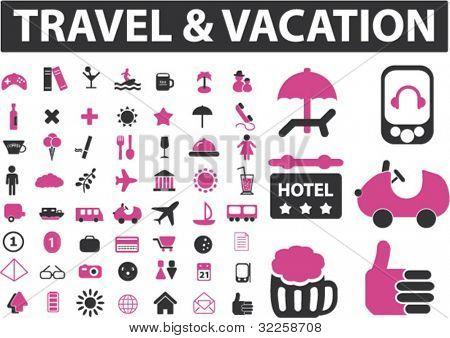 travel & vacation - mega signs set. vector