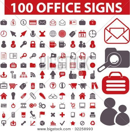 100 office signs. vector