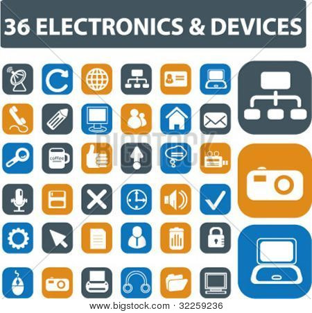 36 electronics & devices signs. vector