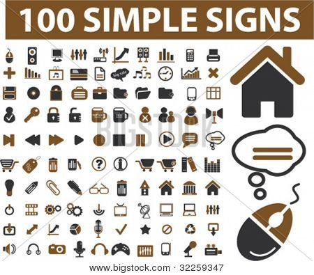 100 simple signs. vector