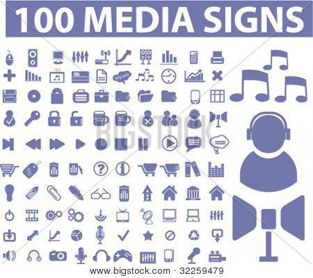 100 media signs. vector