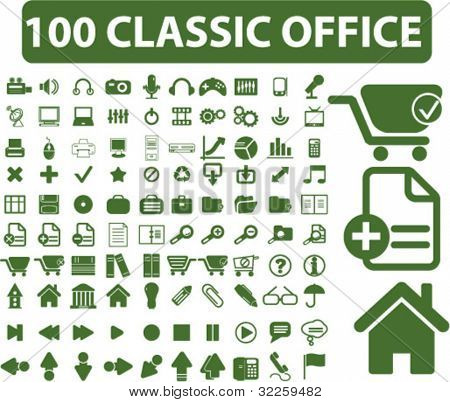 100 classic office signs. vector