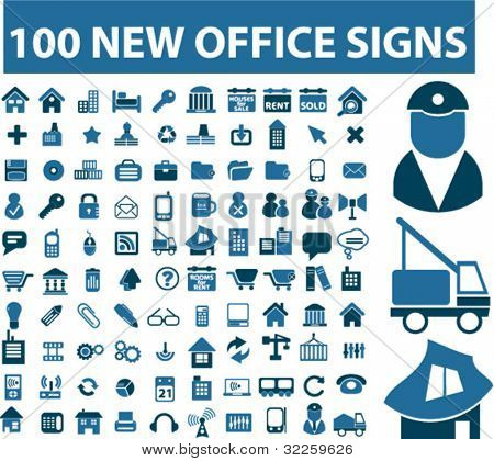 100 new office signs. vector