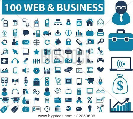 100 web & business signs. vector