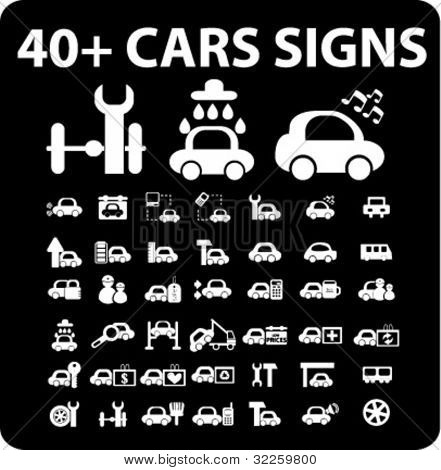 40 + cars signs. vector
