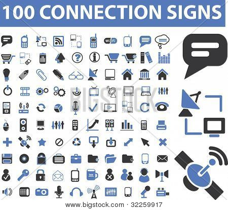 100 connection signs. raster version. see more vector signs in my portfolio