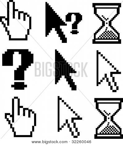 9 black pixel cursors. raster version