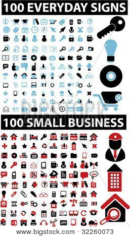 200 everyday & business signs. vector