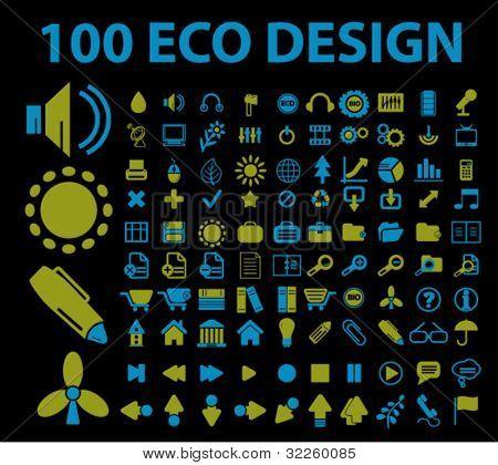 100 eco design signs. vector