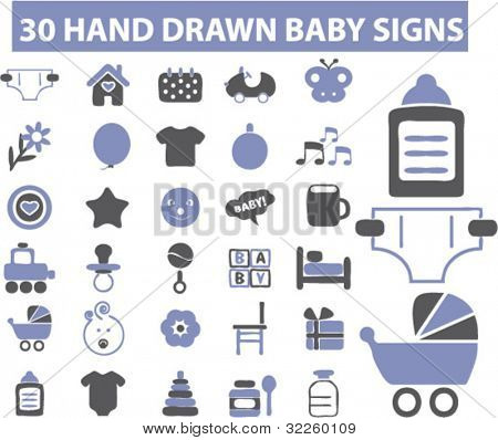 30 hand drawn cute baby signs. vector