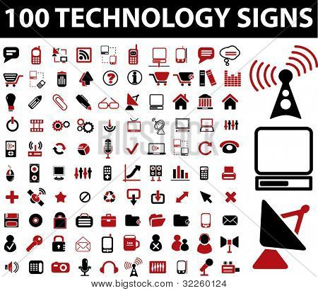 100 technology signs. raster version