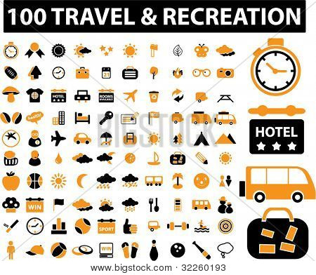 100 new travel & recreation signs. vector