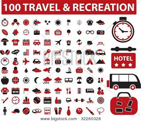 100 recreation & travel signs. vector