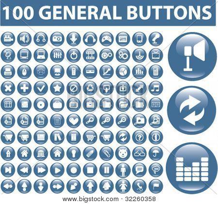 100 botões gerais. vector