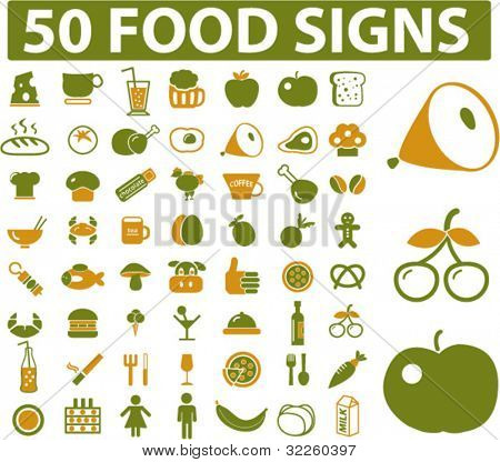 50 food signs. vector