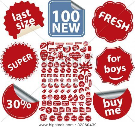 100 new red shopping stickers. vector