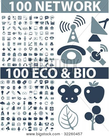 200 network & eco signs. vector