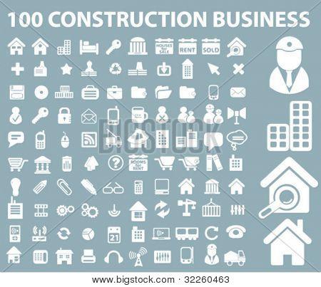 100 Bau Geschäft Zeichen. Vektor