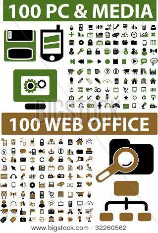 200 sinais de escritório & mídia web profissional. vector
