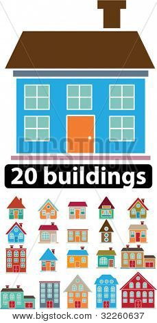 20 cute buildings. vector
