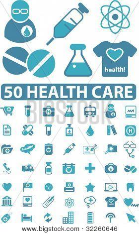 50 muestras de cuidado de salud. Vector