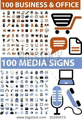 200 business & office signs. vector