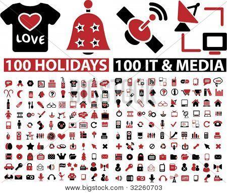 200 sinais feriados & mídia. vector