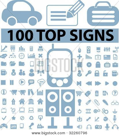 100 top signs. vector