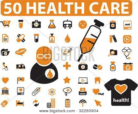 50 health care & medicine signs. vector