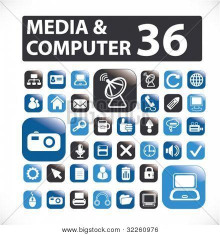 36 media & computer buttons. vector