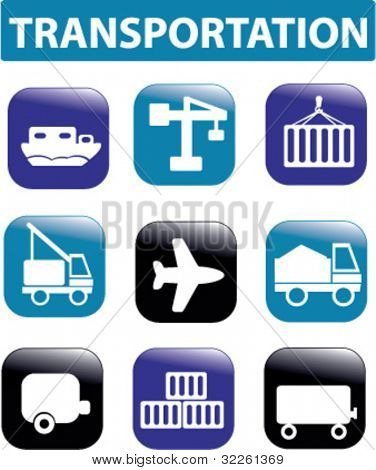 transportation buttons. vector