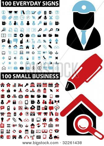 200 everyday & small business icons, vector