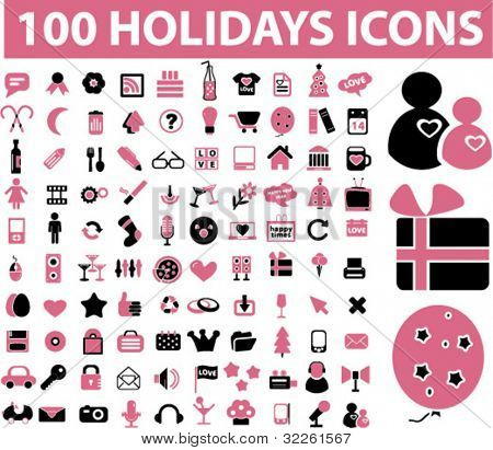 100 holidays icons, vector
