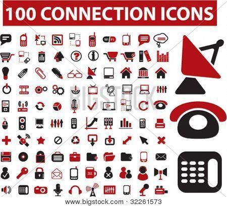 100 iconos de conexión, vector