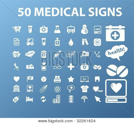 50 medical signs, vector