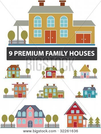 9 premium family houses, vector