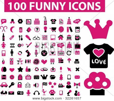 100 funny icons, signs, vector