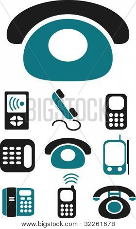 phone icons & signs, vector