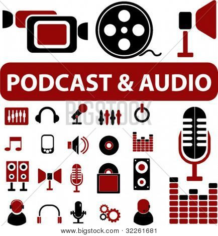podcase & audio icons & signs, vector